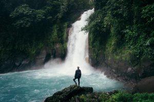 man facing falls